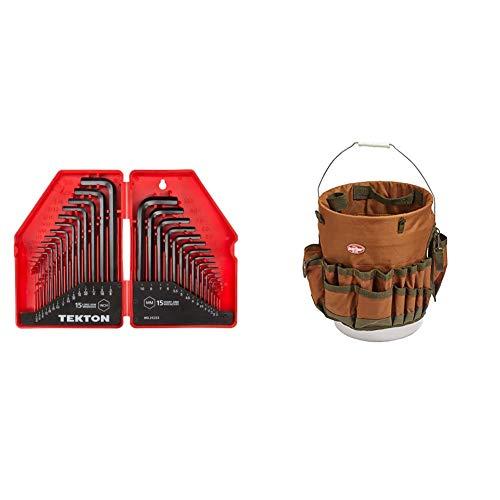 TEKTON Hex Key Wrench Set, 30-Piece (.028-3/8 inch, 0.7-10 mm)   25253 & Bucket Boss The Bucketeer Bucket Tool Organizer in Brown, 10030
