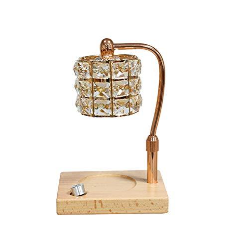 QLIGHA Calentadores de Velas de aromaterapia Lámpara de Cristal de Madera Lámpara de Cera fundida Regulable Lámpara de Mesa de difusor de Aroma Decorativo de cabecera de Dormitorio