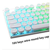 コンピュータキーボード レトロタイプライタースタイルラウンド半透明バックライト104/87キースティック付きキーキャップ、メカニカルゲームキーボードに適しています。 機械式キーボード (Color : Retro round white)