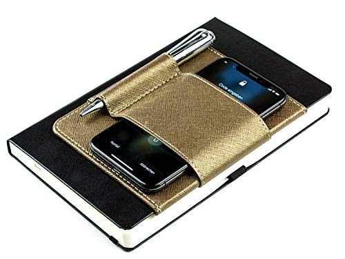 DELMON VARONE - Handy- und Stiftehalter mit Magnet aus Saffiano Lederimitat (Gold Metallic) - Kalender und Notizbuch Halterung als Business Organizer für Smartphone, Stifte, Kredit- und Visitenkarten