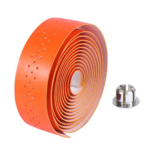 LIOOBO Bike Handlebar Tape Grip Bicycle Bar Tapes Wrap with Bar Plugsfor Road Bikes and Cycling (Orange)