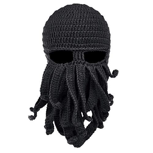 S-TROUBLE Hombres Mujeres Creativo Divertido tentáculo Pulpo Sombrero de Punto Barba Larga Gorro pasamontañas Invierno cálido Disfraz de Halloween máscara de Cosplay