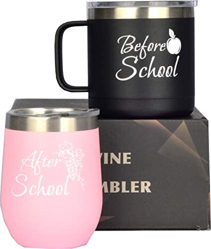 Before School After School Coffee Mug and Glass Set for Teachers Professors Mentor Teaching product image