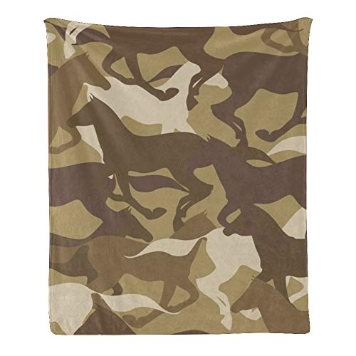 Qearl Camouflage Horse Silhouette Throw Blanket Super Soft for Women,Men,Kids,Boys,Girls,Blanket Throws for Bed,Couch,Gifts 50x60 Inches