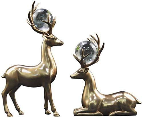 JLXQL Escultura Decoración Estatuas Figuritas Resina Hogar Decoración de gabinete de Vino Artesanías de Resina Cobre Fundido Amantes Ciervos Amantes de la Bola de Cristal