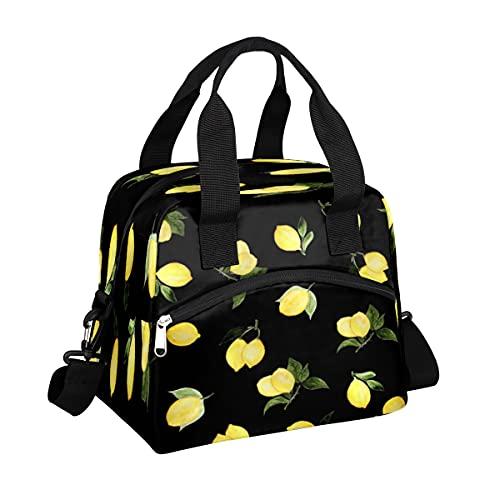 MOMOYU Bolsa de almuerzo con hojas de limón aislada, reutilizable bolsa de picnic impermeable, organizador de almuerzo con correa de hombro ajustable para la escuela, playa, trabajo, deporte, viajes