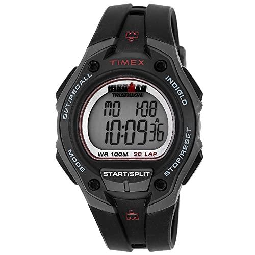 Timex T5K417 - Reloj digital con correa de resina para hombre, color negro/rojo