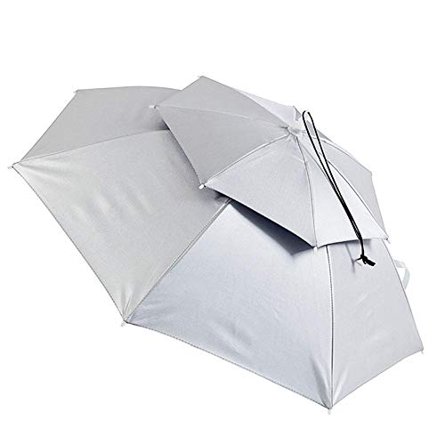 Pomya Regenschirm Hut für die Jagd Angeln, Scalloped Anti-Scratch 77cm Sonnencreme Winddicht Kopf Regenschirm Top Folding Headwear Hut Regenschirm(Silber)