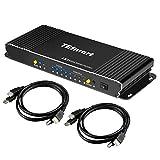 TESmart Multi-Vista HDMI KVM Switch 4x1 Quad Pantalla Conmutador sin Costura Soporte 1080P@60Hz, 3D, con 2 Cables KVM de 1,5 m Controla hasta 4 Computadoras