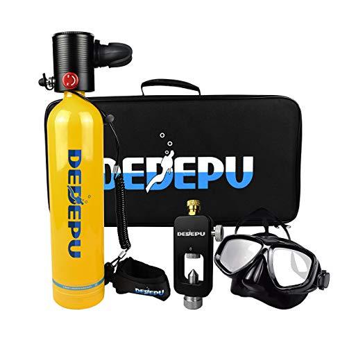 DEDEPU Mini equipo de buceo portátil S4000PLUS-Package B Inflable Buceo Cilindro Pony Botella de emergencia Equipo de buceo para buceadores (amarillo)