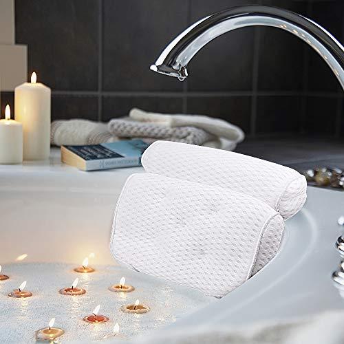 AmazeFan Badewannenkissen, Luxus Badewanne & Spa-Kissen mit 4D-Air-Mesh-Technologie und 7 Saugnäpfen. Stützfunktion für Kopf, Rücken, Schulter, Nacken. Geeignet für Badewannen und Home Spa