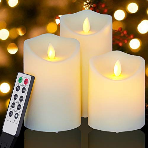 Enido Flickering Flameless Candles Outdoor Waterproof Battery Operated Candles Led Candles Plastic Candle Set of 3 Include Realistic Dancing LED Flames with Remote Control (D:3.25'x H:4'5'6')