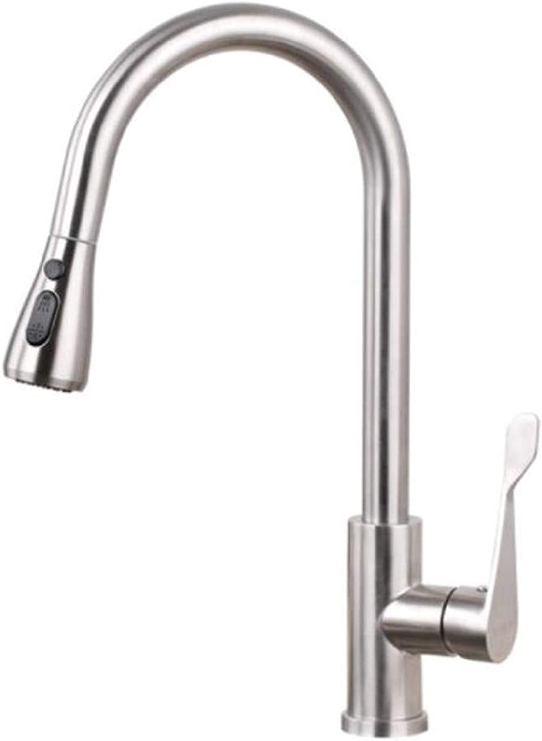 Taps Mixer?Swivel?Faucet Sink Stainless Steel Faucet Cold and Hot Pull Kitchen Retractable Wire Drawing Washing Basin Sink Faucet Flower Sprinkler