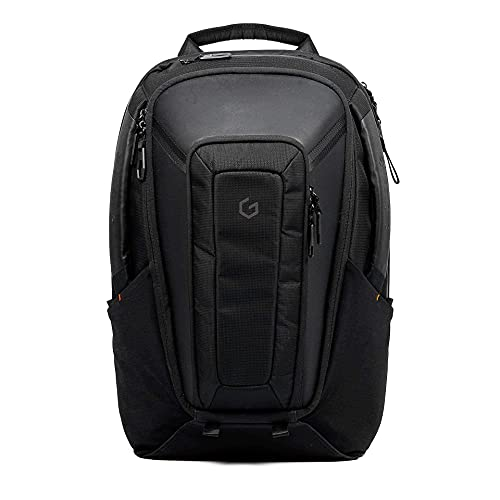 Carry+ Professional Laptop Backpack 17 Inch Hard Shell Protection Gaming Computer Bag Cool Looking Water-repellent for Work/Business/School/College/Riding/Travel/Men/Women-Black