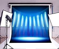 GooEoo ビニール8×8フィート写真の背景スタジアム空のステージテレビスタジオブルーライトスポットライト光沢のあるショーパフォーマンス装飾パーティー子供肖像画撮影ビデオスタジオプロップ