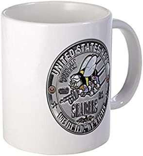 Demon Decal Mug - USN Seabees Equipment Operato Mug - 15 Ounce Ceramic White Coffee/Tea Cup