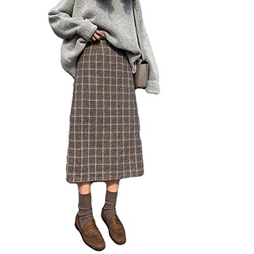 YLDCN Faldas para Mujer Falda A Cuadros De Lana Vintage Falda Larga De Cintura Alta para Mujer Falda Midi De Lana para Mujer-As_Shown_2_XL