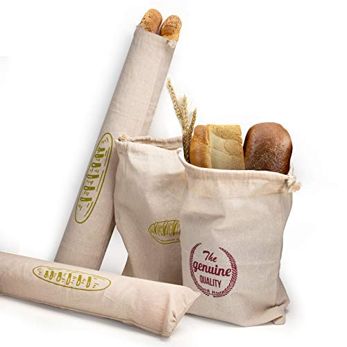 Bread Bags for Homemade Bread, Organic Cotton Bread Bags, Eco-Friendly, Large, Reusable