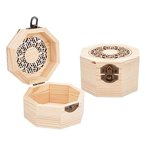 OLYCRAFT Caja de almacenamiento de madera hueca octágono floral caja de madera natural con tapa con bisagras y cierre frontal para hacer joyas, 4 x 3.7 pulgadas