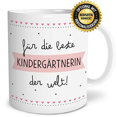 OWLBOOK Beste Kindergärtnerin Große Kaffee-Tasse mit Spruch im Geschenkkarton Geschenke Geschenkidee für Erzieher-in Abschied Geburtstag