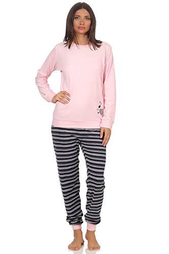 Eleganter Damen Frottee Pyjama Schlafanzug mit Bündchen und Herz Motiv - 291 201 13 570, Farbe:rosa, Größe2:48/50