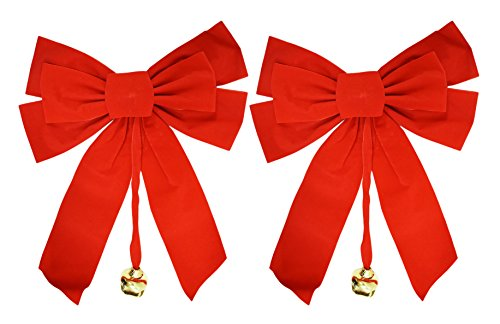 Set of 2 Large Red Velvet Christmas Bows with Dangling Metal Bell - Measures - 10' x 15' Indoors Only