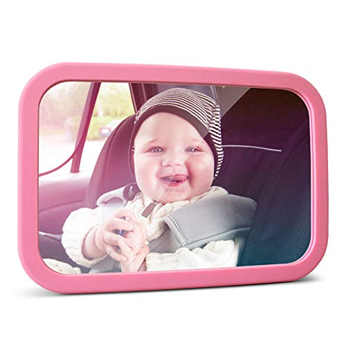MYSBIKER Baby Backseat Mirror,360°Rotation and Shatterproof,Rear View Baby Kids Car Mirror with Dual Adjustable Straps,Clear View Ensure Your Baby is Safe in Car (Pink)