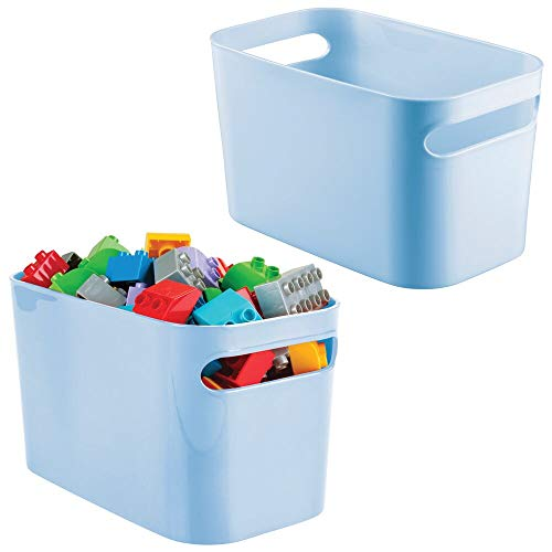 mDesign Plastic Toy Box Storage Organizer Tote Bin with Handles for Child/Kids Bedroom, Toy Room, Playroom - Holds Action Figures, Crayons, Building Blocks, Crafts - 10 Inches, 2 Pack - Light Blue