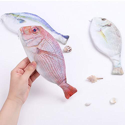 ACC - Estuche de lona para lápices con forma de pez, color plata 23 * 9 * 1cm: Amazon.es: Oficina y papelería