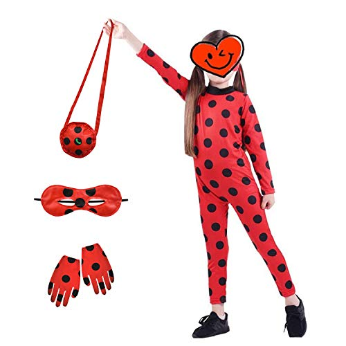 Costume for Girls, Age 6-7 Party Cosplay Bodysuit Dress up Clothing Kids Black Spot Lady-Bug Suit Combat Uniform Toddler Role Play Jumpsuit Child Cute Little Beetle Outfit Easter Gifts