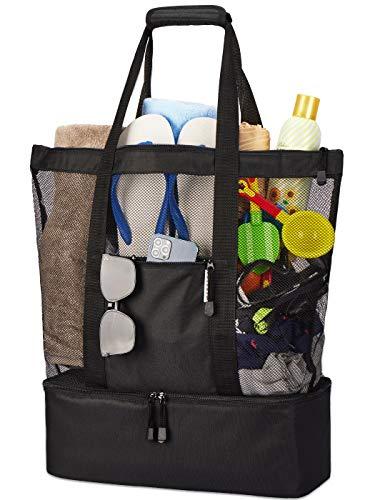 LIVACASA Borsa da Spiaggia Grande con Borsa Termica Cerniera Tasche Sacchetto da Spiaggia Per Viaggio Borsetta Stoccaggio Organizzator Beach Bag Vacanze Estive Borsa Refrigerante Nero