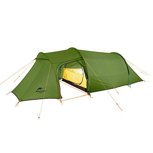 Tentock Tente de Randonnée Ultra Légère Extérieure pour 2-4 Personnes, Tente Tunnel Familiale Imperméable(Vert, 3 Personnes)