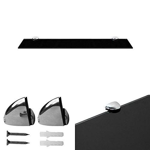 Melko Glasablage, Glasregal ideal für Bad, Dusche und zur modernen Dekoration mit Halterung aus Edelstahl 50 x 10 x 0,6 cm, Schwarz