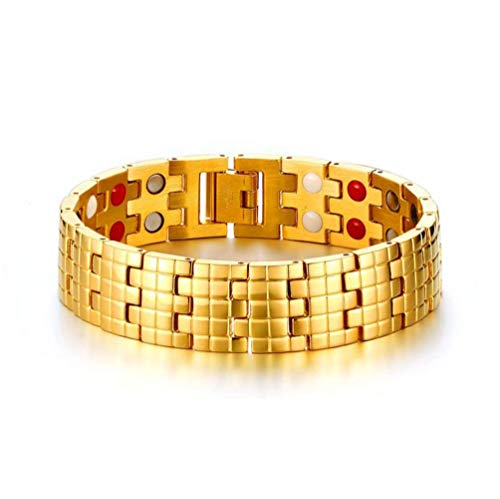 WJMSS Herren Armband, 16MM Titan Stahl Magnet Energie-Armband-Vakuumüberzug Gold-Armband mit Schmuckkasten 21.5cm