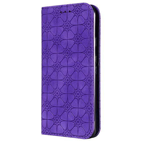 TOPOFU Premium Leather Case for Samsung Galaxy A12 5G Case, Flip Cover with [Magnetic Closure] [Card Slots] [Horizontal Viewing Stand] [Durable Frame] Folio Case-Purple
