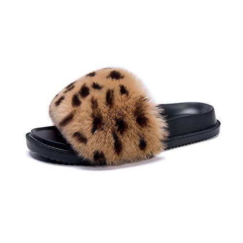 LanXi Damen Schlappen mit Fell Flacher Pantoffel Flipflops Weiches Flaumiger Fell Hausschuhe Slipper Pelz Sandalen