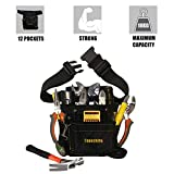 <span class='highlight'><span class='highlight'>Copechilla</span></span> Tool Bag Black with Adjustable Belt,Wear Resistant and Professional,Tool pocketpouch Belt Oxford Canvas Material Thickened, for Electricians, Technicians