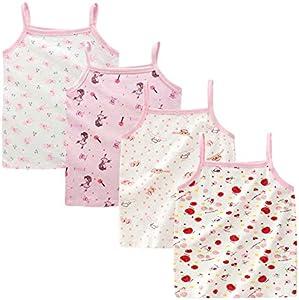 Kidear - Pack de camisetas interiores de tirantes hechas con algodón suave para niñas Estilo1 4-5 Años