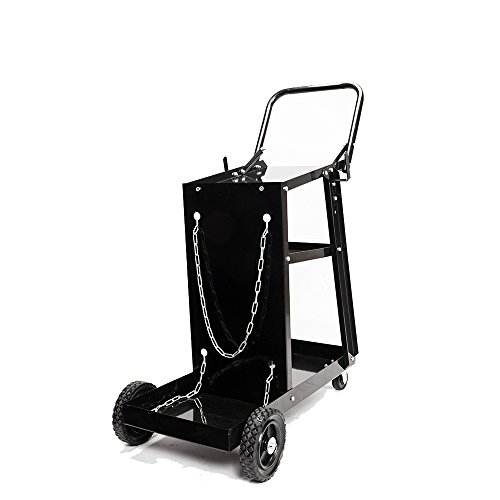 TUFFIOM 3-Tier Welder Welding Cart Plasma Cutter, MIG TIG ARC Universal Storage for Tanks w/ 2 Safety Chains, 360°Directional Wheels, 100lbs capacity, Black