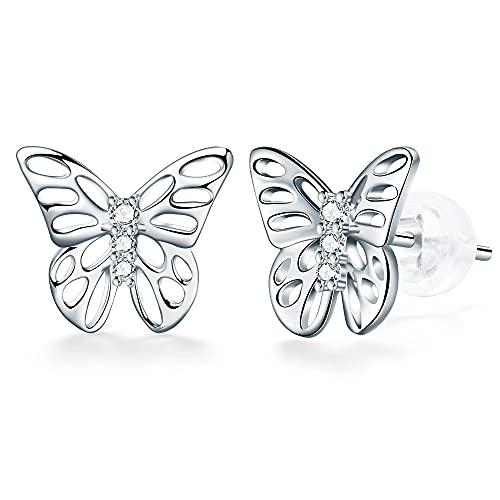 J.Endéar Pendientes Mujer Plata Mariposa Pendientes Plata 925 Corazón Pendientes Regalo