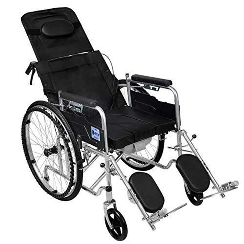 SLRMKK Silla de Ruedas reclinable estándar con reposacabezas Desmontable, reposapiernas elevable, Silla de Ruedas con Inodoro para Personas Mayores discapacitadas