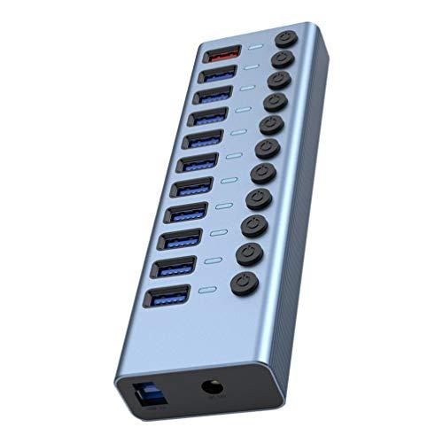 Lurrose Hub USB 3. 0 Alimentado 11 Portas de Alumínio Hub USB Expansor Oferece Portas USB Extra para Laptops