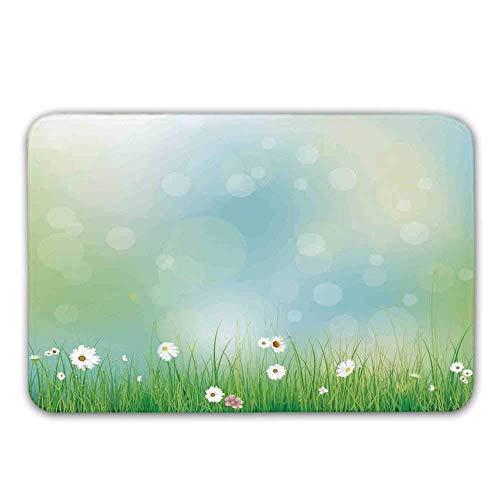 Kinhevao Aquarell Blume Home Decor Gummi Träger rutschfeste Fußmatten, Fairy Spring Blooms Muster mit Digital Made Bursts Eierstock Fußmatte Fußmatten Teppiche Badematte