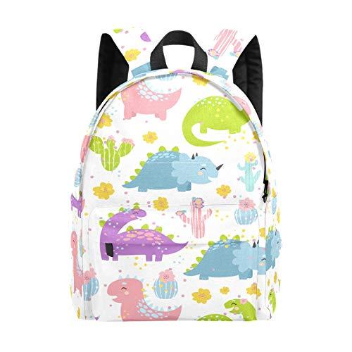 School Backpack for Girls Boys Pastel Cute Smile Dinosaur Cactus School Bag Lightweight Bookbag Travel Bag Large Laptop Bags Backpack for Men Women
