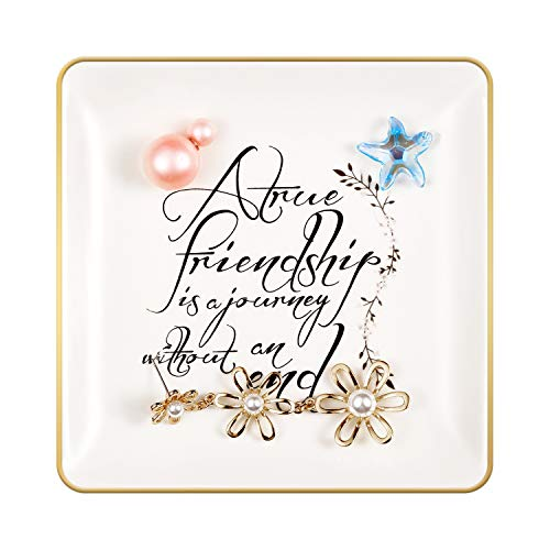 ANIKAY Friend Birthday Gifts for Women Ring Trinket Dish - A True Friendship is a Journey Without an end