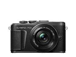 Olympus PEN E-PL10 Micro Four Thirds System Kamera Kit inkl. 14-42mm M.Zuiko EZ Objektiv, Bildstabilisierung im Gehäuse, schwenkbarer Monitor,4K Video,Wi-Fi,16 Art Filter,9 erweiterte Fotomodi,Schwarz