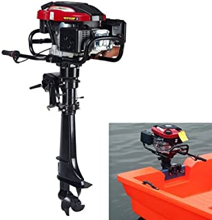 Hangkai Outboard Motor,7HP 4 Stroke 173CC Outboard Motor Fishing Boat Engine Fishing Boat Motor Air Cooling System Durable Cast Aluminum Construction for Superior Corrosion Protection 3 Year WARRENTY