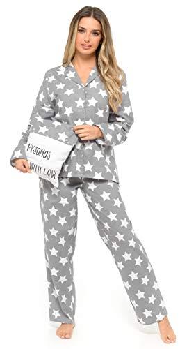 CityComfort Pijamas Mujer de Botones, Ropa Mujer 100% Algodon, Pijama Mujer Invierno Camisero 2 Piezas de Manga Larga, Regalos Mujer y Adolescente Talla S-XL (Gris Claro, L)