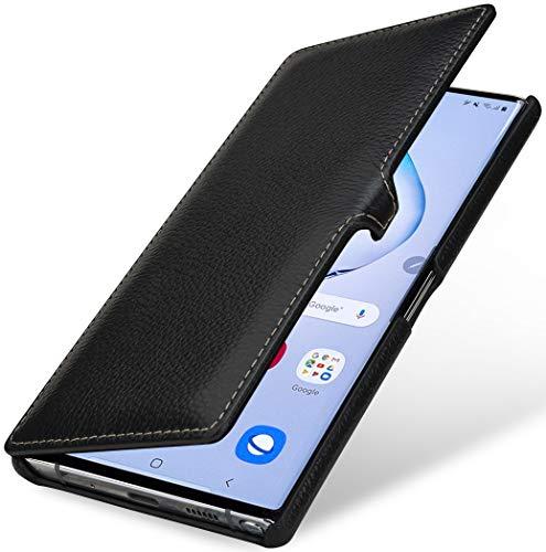 StilGut Hülle kompatibel mit Galaxy Note 10+ Tasche aus Leder, Book Type, schwarz mit Clip