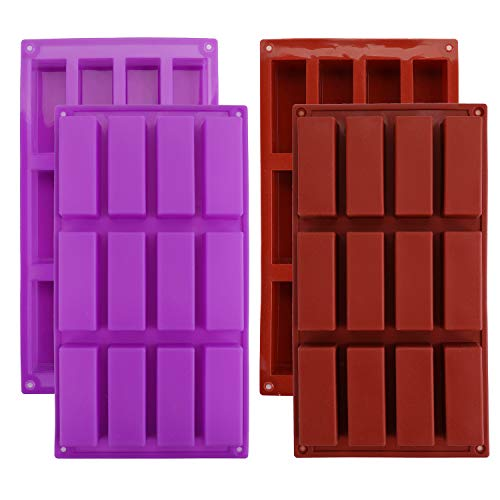 Bekith 4 Pack 12 Cavity Silicone Rectangle Molds, Narrow Granola Bar Molds Protein Bars Molds Energy Bars Maker for Loaf Muffin, Brownie, Pudding, Soap, Butter
